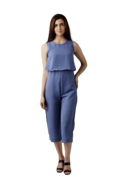 Miss Chase Blue Round Neck Jumpsuit