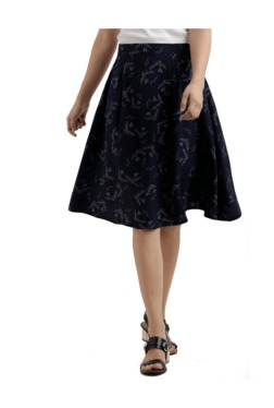 Miss Chase Navy Printed Knee Length Skirt