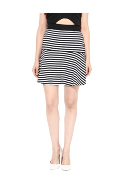 Miss Chase Black & White Striped Above Knee Skirt