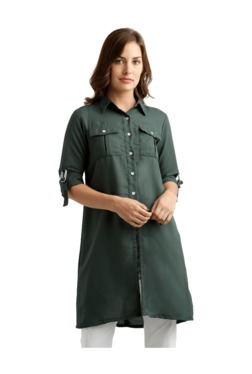 Miss Chase Green Loose Fit Long Shirt