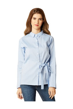 Miss Chase Light Blue Relaxed Fit Shirt