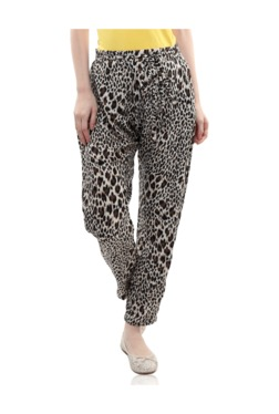 Miss Chase Black Animal Print Relaxed Fit Pants