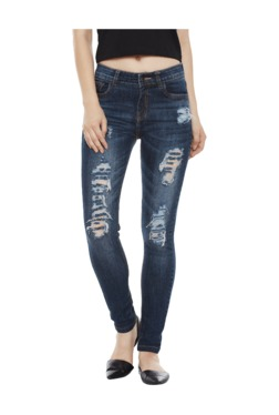 Miss Chase Blue Distressed Skinny Fit High Rise Jeans