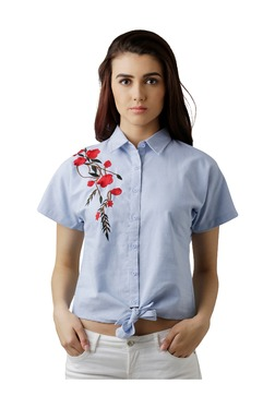 Miss Chase Blue Printed Loose Fit Shirt
