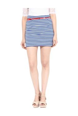 Miss Chase White & Blue Striped Above Knee Skirt