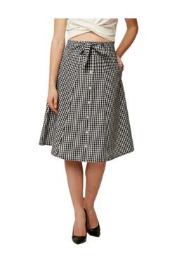 Miss Chase White & Black Checks Knee Length Skirt
