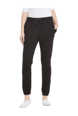 Miss Chase Black Relaxed Fit Cotton Joggers - Mp000000003354293
