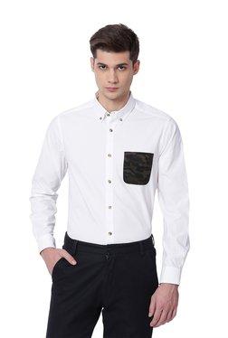 The Bear House White Cotton Button Down Collar Shirt