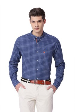The Bear House Blue Button Down Collar Checks Shirt