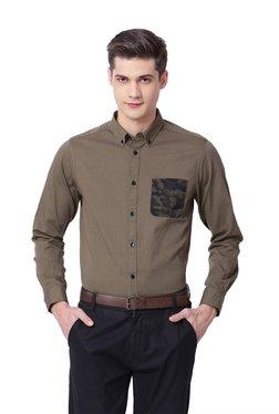 The Bear House Khaki Cotton Button Down Collar Shirt