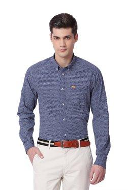 The Bear House Blue Printed Button Down Collar Shirt