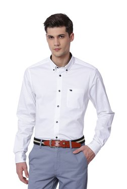 The Bear House White Solid Button Down Collar Shirt