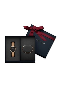 Daniel Wellington DW00500007 Classic Petite Melrose Black Dial Watch 32Mm & Rose Gold Cuff Combo