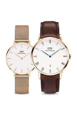 Daniel Wellington DW00500108 Classic Petite Melrose & Dapper Bristol Rose Gold Couple Watch Combo