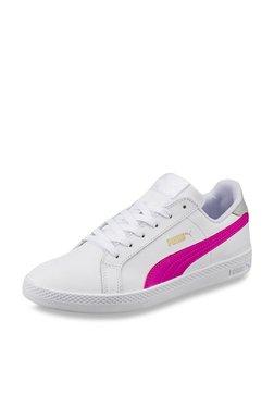 Puma Smash White & Magenta Pink Sneakers