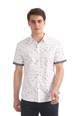 Colt White & Red Printed Half Sleeves Shirt