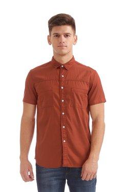 Colt Brick Red Cotton Half Sleeves Shirt