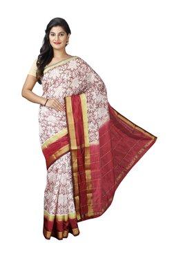 Pavecha's White & Red Cotton Silk Banarasi Saree