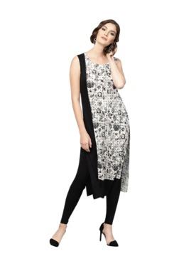 Gerua Black & White Floral Print Cotton Kurta