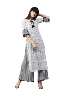 62486db84 Gerua White   Black Printed Cotton Kurta With Palazzo