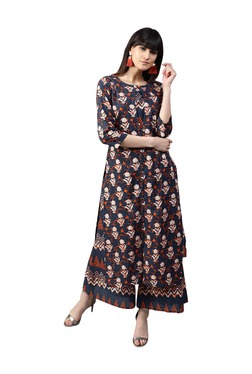 b921c51de51 Gerua Navy Printed Cotton Kurta With Palazzo