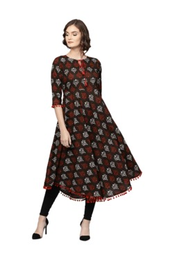 7d57ecb6e Fabindia Brown Printed Cotton Anarkali Kurta Best Deals With Price ...