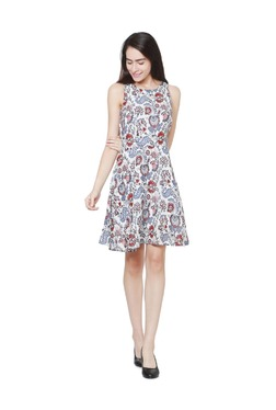 Solly By Allen Solly White Printed Above Knee Dress - Mp000000003386912
