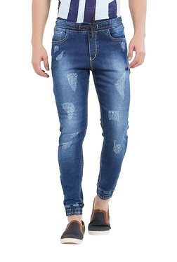 Deezeno Dark Blue Distressed Mid Rise Jogger Jeans