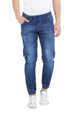 Deezeno Dark Blue Mid Rise Distressed Jogger Jeans