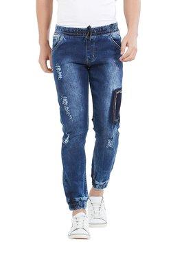 Deezeno Dark Blue Distressed Jogger Jeans