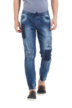 Deezeno Blue Lightly Washed Regular Fit Jogger Jeans