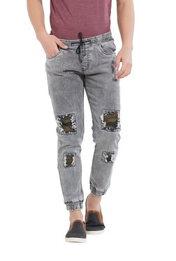Deezeno Grey Lightly Washed Mid Rise Jogger Jeans