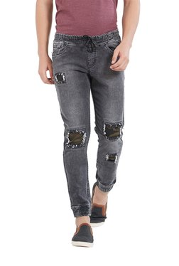 Deezeno Dark Grey Lightly Washed Mid Rise Jogger Jeans