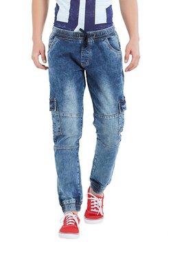 Deezeno Blue Mid Rise Regular Fit Jogger Jeans