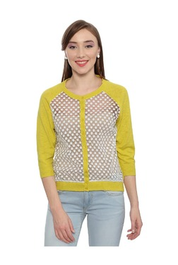 Solly By Allen Solly Yellow Lace Cardigan