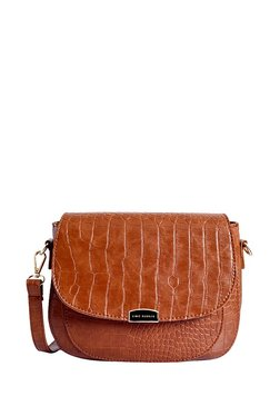 Lino Perros Brown Textured Leather Flap Sling Bag