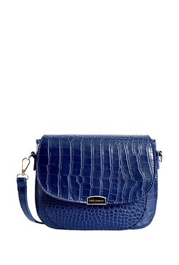 Lino Perros Navy Textured Leather Flap Sling Bag