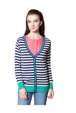 Solly By Allen Solly Navy & White Striped Cardigan