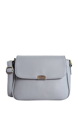 Lino Perros Grey Solid Leather Flap Sling Bag
