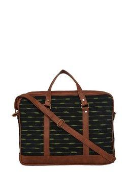Tarusa Black & Green Abstract Cotton Laptop Messenger Bag