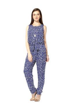 Solly By Allen Solly Blue Printed Maxi Jumpsuit