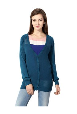 Solly By Allen Solly Teal Textured Cardigan