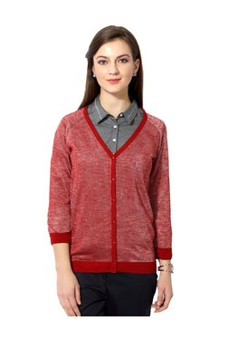 Solly By Allen Solly Red Textured Cardigan