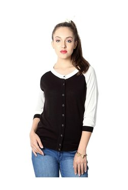 Solly By Allen Solly Black & White Round Neck Cardigan