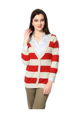 Solly By Allen Solly Red & Cream Striped Cardigan