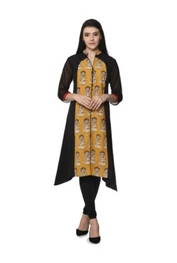 Soch Mustard & Black Printed Cotton Kurta