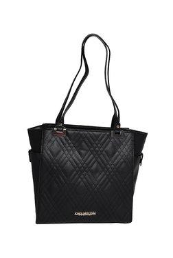 Jones New York Zara Black Textured Quilted Shoulder Bag