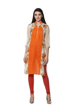 Soch Off White & Orange Floral Print Cotton Kurta
