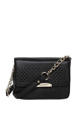 Jones New York Gemma Black Perforated Flap Sling Bag