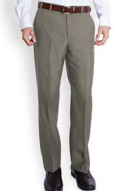 Park Avenue Grey Solid Slim Fit Flat Front Trousers